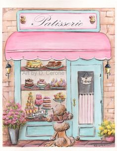Paris Print of a scrumptious patisserie from my collection on Etsy. This print can be personalized! $18 https://www.etsy.com/shop/NurseryRembrandts