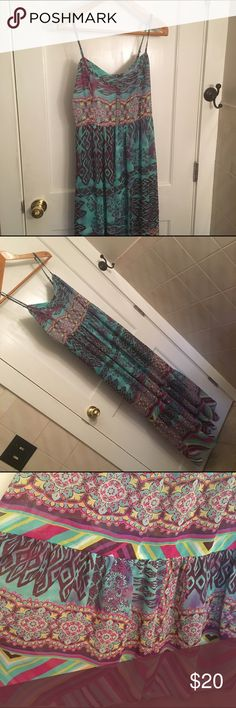 """Colorful Maxi Dress Colorful Maxi Dress. 59"""" top to bottom with adjustable straps. Betsey Johnson Dresses Maxi"""