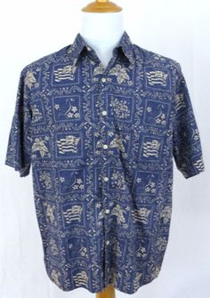 Reyn Spooner Shirt Large Hawaiian Traditions State Flag Nene Bird Reverse Print #ReynSpooner #Hawaiian