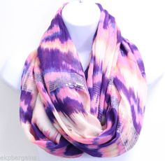 New-W-Flaws-BCBGeneration-Womens-Rasberry-Sparkle-Infinity-Loop-Scarf-M5002-D
