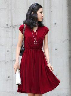 Elegant V Neck Red Dress $40.00
