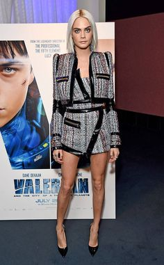 Tweed Twist from Fashion Police  Cara Delevingne is twisted up in tweed at a trailer screening for Valerian and the City of a Thousand Planets in Los Angeles—and we're obsessed. This patent leather-accented Alexandre Vauthier ensemble is hitting all the right notes with ample flair and glamour. Alas, those pumps would be better suited for the boardroom, but we'll let it slide.