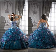 Sparkling elegant silver embroidered crystal beaded ruffle puffy ball gown blue purple lady's pageant quinceanera dresses AL033 on AliExpress.com. $138.00