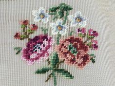 Vintage Bucilla preworked needlepoint canvas wildflowers pink white green 12X13 #Bucilla