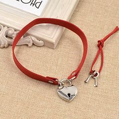 Amazon.com: Heart Lock Key Charm Choker Necklace Flannel Collar Necklace Christmas Gift 1 Pc: Jewelry