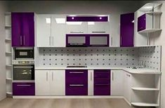Fabulous Modern Kitchen Sets on Simplicity Efficiency and Elegance Purple Kitchen Cabinets Kitchen Cabinet Interior, Kitchen Cupboard Designs, Kitchen Room Design, Modern Kitchen Cabinets, Modern Kitchen Design, Interior Design Kitchen, Moduler Kitchen, Kitchen Ideas, Hickory Kitchen