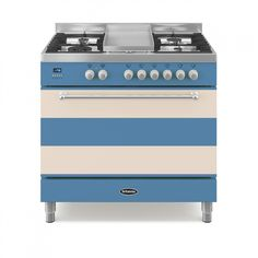 RANGE COOKER (2014)   Colourange with Cornishware: 'Unveiled at the Grand Designs Show, where Cornishware also displayed a range of their stunning crockery on our stand. Cornishware is a fantastic brand that has been producing blue and white striped crockery since 1926. By producing a range cooker in this iconic finish, we were able to generate a lot of interest in our products.' ✫ღ⊰n