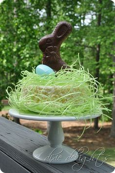 Easter Cake Idea... add edible Easter grass, a chocolate bunny and a single blue egg to give an average looking store bought cake an extreme cute makeover