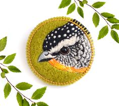 Bird . brooch . handmade . felt . needle felted . embroidery . by Conieco