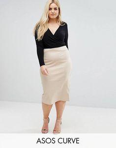 d8460f75e86 ASOS CURVE High Waist Longerline Pencil Skirt Plus Size Pencil Skirt
