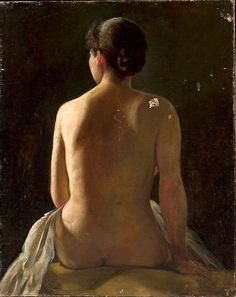 Pantaleon Szyndler 1846-1905 (Polaco), Acto de la mujer sentada, óleo sobre lienzo