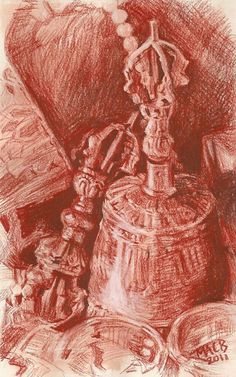 Vajra and Bell, Drawn with Sanguine conte pencil on paper, 6 x 10 inches.