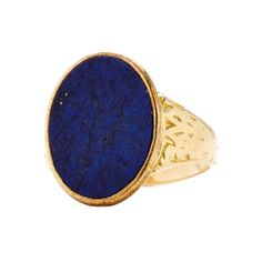 VINTAGE TIFFANY & CO UNCARVED LAPIS SIGNET RING