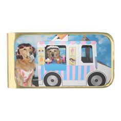 Golden Retriever Ice Cream Truck Gold Finish Money Clip