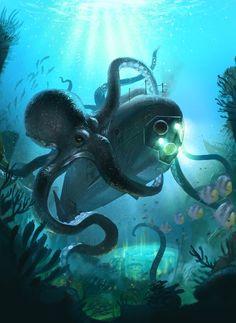 Kraken (giant octopus variant) attacks a submarine Kraken, Myths & Monsters, Sea Monsters, Fantasy Creatures, Mythical Creatures, Cthulhu, Nautilus Submarine, Giant Squid, Octopus Art