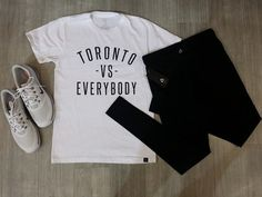 Toronto vs Everybody, and #PlatosClosetBrampton vs high prices! Find all your favourite brands & hottest style for less than you ever thought possible – Come in today and start 2017 off better dressed than ever! #Torontovseverybody  //#PeaceCollective tee, $15//#Titika pants, $35//#Nike shoes, $50// | www.platosclosetbrampton.com