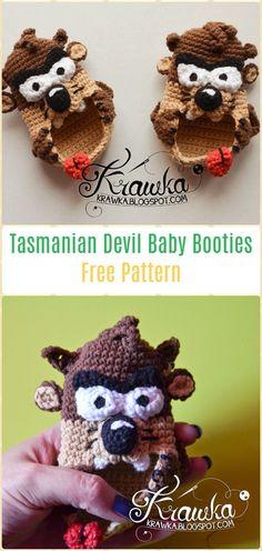 Crochet Tasmanian Devil Baby BootiesFree Pattern - Fun Crochet Baby Booties Free Patterns
