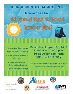 We will be in Long Beach Saturday 11am- 3pm at Councilman Al Austin's Back To School Blast with teen driver distraction education & car seat safety, with State Farm agent Deborah Watson Triggs