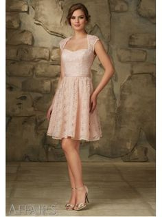 A-Line Queen Anne Ribbons Lace Short Pink Bridesmaid Dress