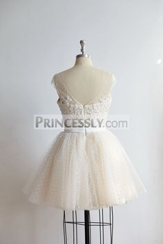 Cap Sleeves Beaded Lace Polka Dot Tulle Short Prom Party Dress