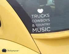 Love Trucks, Cowboys and Country Music cute car decal sticker window truck girl