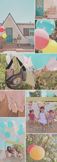 Photo booth: hot air balloon basket.  Have guests wear aviator goggles, gloves, and a scarf.