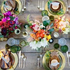 Tropical Romance Photoshoot 2014  Styled and rentals by Layered Vintage Photography by Joielala Table top view - Vintage brass, wooden pineapple bowls mixed with Vintage glass and new Anthropologie Emerald glasses