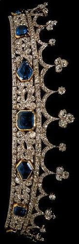Diamond and sapphire tiara designed by Prince Albert for Queen Victoria.  On loan from the Earl and Countess of Harewood. This is my everyday crown. My real crown is so much bigger! Lol