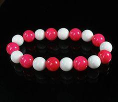 Bicolor HOT PINK & WHITE Chinese Jade Gem Prayer Mala Beads Bracelet WZ127