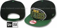 Packers 'THROUGH SNAPBACK' Black-Green Hat by New Era : may be pictured without stickers that these products are shipped with