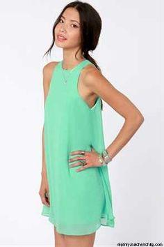 Cute Mint Green Dress find more women fashion on misspool.com
