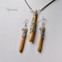 Wooden jewelry wire wrapped pendant wood jewelry set by Artual