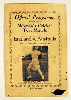 Program for the 3rd Test of England v Australia, January 1935 http://collectionsearch.nma.gov.au/ce/Howard,%20Peggy?object=40109