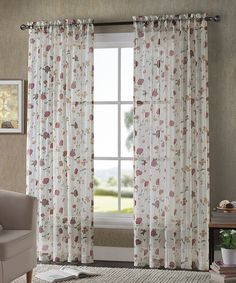 Look what I found on #zulily! White Floral Sheer Voile Curtain Panel - Set of Two by Victoria Classics #zulilyfinds