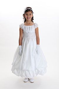 Flower Girl Dresses - Girls Dress Style 563 - WHITE ONLY Short Sleeve Embroidered Double Layer Bubble Dress