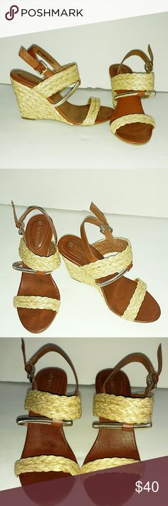 """MASSINI WOVEN WEDGE NWOT ORG PRICE: $65.00? Worn once in house.  Sizing: True to size. , Open toe, Faux leather construction, Strappy open weave vamp, gold metal detail, Slingback with adjustable buckle closure, Lightly padded footbed, Woven wedge heel, Approx. 3.75"""" heel Shoes Wedges"""