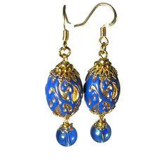 Vintage Bead Dangle Earrings in Royal Blue