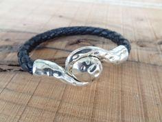 Unisex Black Leather Bracelet,Unisex Jewelry, Magnet Bracelet,  Cuff Bracelet, Valentine's Gifts