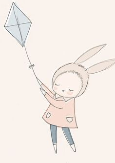 children Poster Art - Nursery Art Poster Childrens Poster Baby Girl Bunny Rabbit Flying a Kite in the Sky Pastel Blue version Nursery Prints, Nursery Art, Bunny Girls, Peach Nursery, Grand Format, Large Format, Go Fly A Kite, Kids Prints, Art Wall Kids