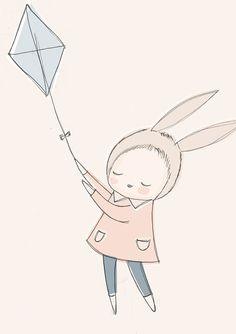 Art de pépinière Grand Format Art Print - Bunny Girl voler un cerf-volant dans le ciel - Peach