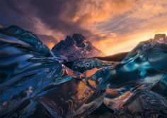 Sunrise Below Crystal Icebergs, Chile Photography By: Marc Adamus