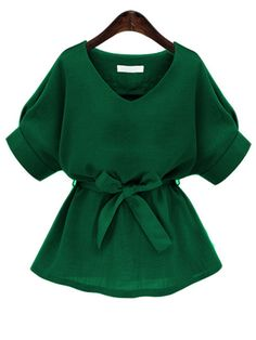 Green V Neck Self Tie Blouse