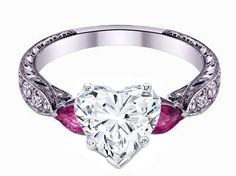 Heart Shape diamond Engagement Ring Pink Sapphire Pear side stones Hand engraved White Gold band - ES1103HSPS