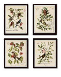 Vintage Bird and Botanical Print Set No.1 - Giclee Canvas Art Prints - Antique…
