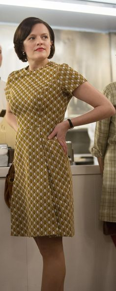 Peggy Olson's perfect chartreuse dress on Mad Men.