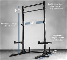 The Rep Squat Rack with Pull Up Bar with tons of new features! For an awesome price you get the fat and skinny pull up bar, safeties, j cups, dip and band pegs, weight storage and of awesomeness! Squat Rack Diy, Gym Resistance Bands, Barbell Lifts, Home Workout Equipment, Crossfit Equipment, Crossfit Gym, Training Equipment, Squat Stands, Weighted Squats