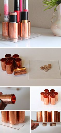 DIY Copper Tube Lipstick Holder | Click Pic for 18 DIY Makeup Storage Ideas for Small Bedrooms | Easy Organization Ideas for the Home