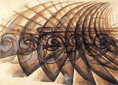 Giacomo Balla, Shape Noise Motorcyclist (1913) - Italian Futurism in art embraced speed and locomotion. EC