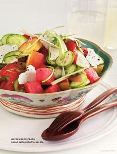 Can't find actual recipe but I'm sure I could figure most of this out from the picture - Watermelon Peach Salad