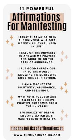 Positive Affirmations Quotes, Self Love Affirmations, Words Of Affirmation, Morning Affirmations, Law Of Attraction Affirmations, Money Affirmations, Healing Affirmations, Spiritual Manifestation, Manifestation Journal